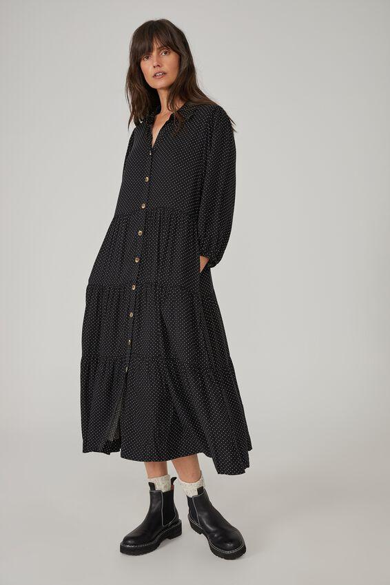 Sienna Button Through Tiered Shirt Dress, BLACK WHITE MINI SPOT