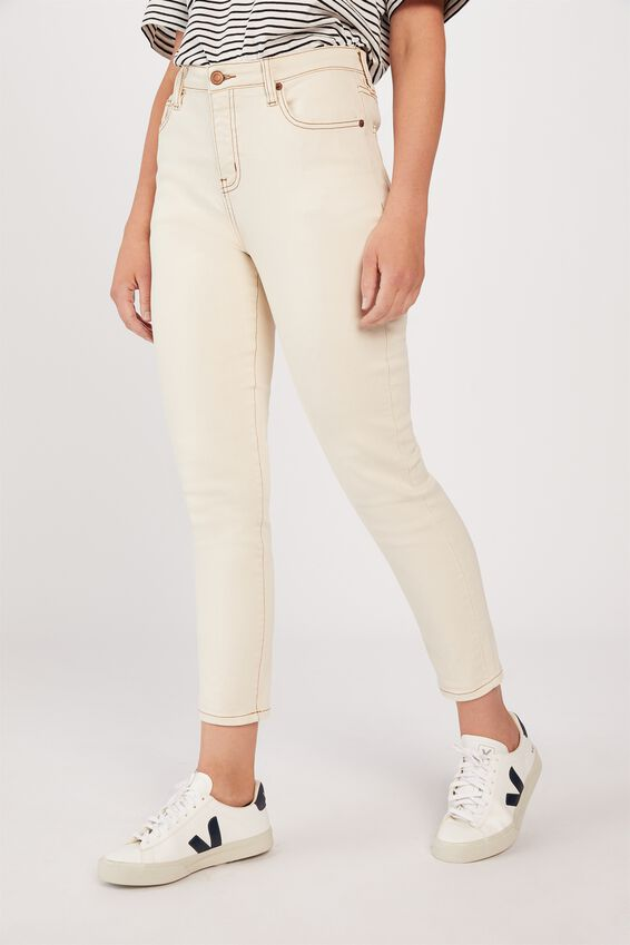Mid Rise Skinny Jeans, ECRU
