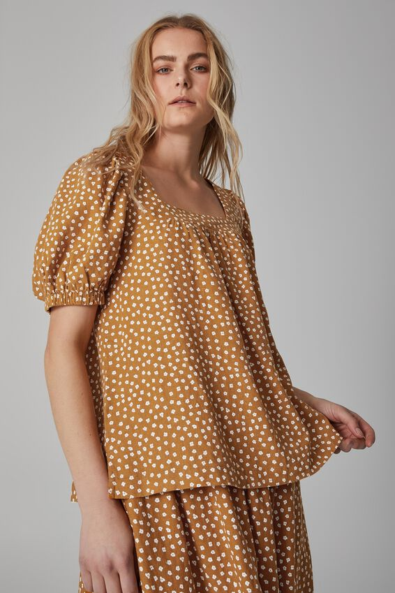 Puff Sleeve Square Neck Tunic, TOBACCO FLORAL