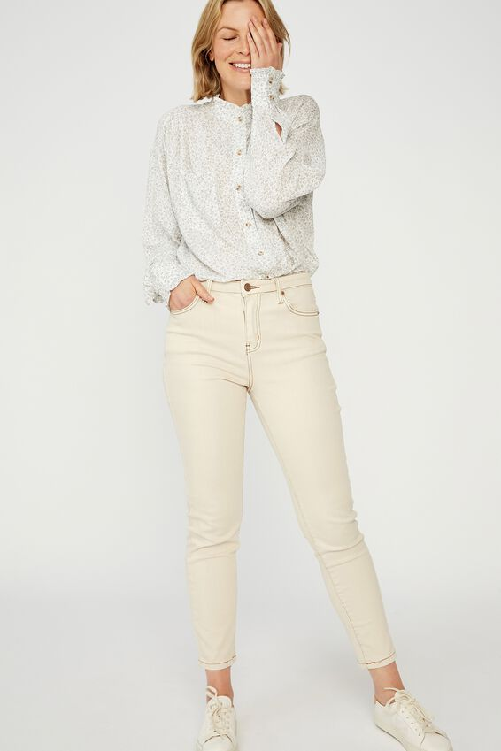 Classic Frill Shirt, WHITE DITSY