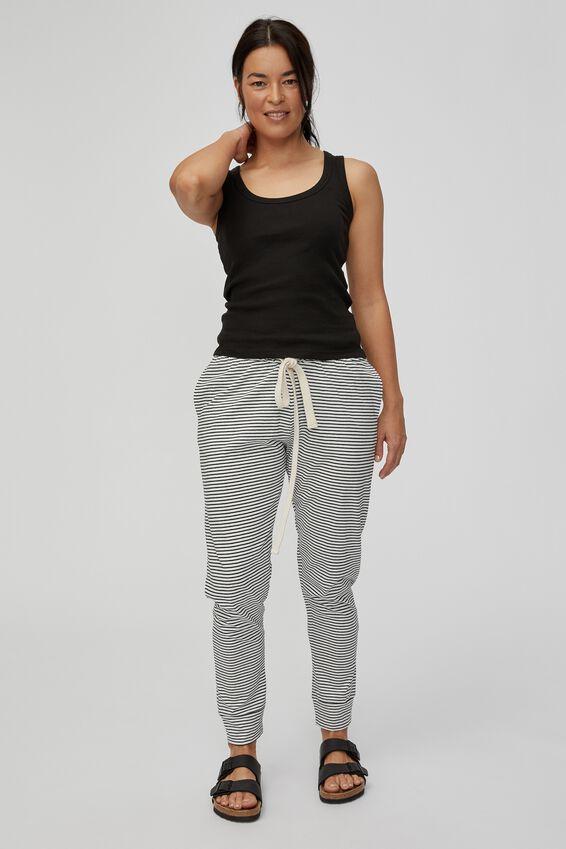 Organic Cotton Jersey Pant, MINI BLACK WHITE STRIPE