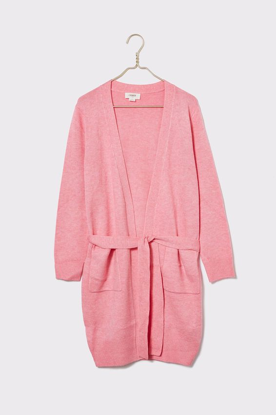Soft Longline Cardigan, PALE PINK MARLE