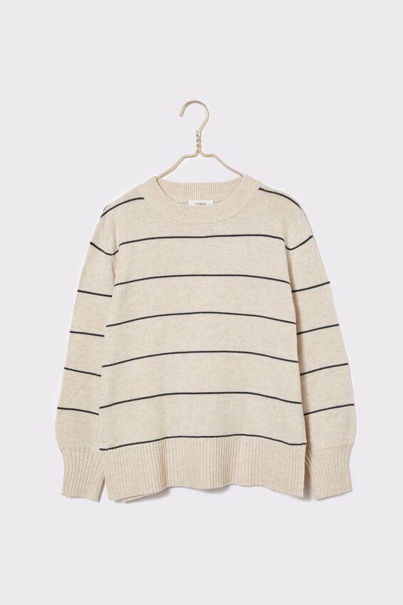 Soft Stripe Crew Sweater, OATMEAL CHARCOAL STRIPE