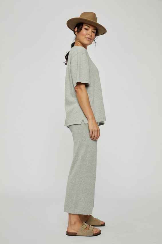 Relaxed Boxy Knit Tee, GREY MARLE