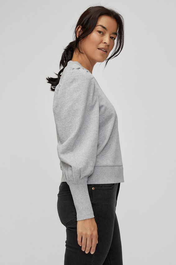 Organic Long Cuff Husk Sweat, GREY MARLE