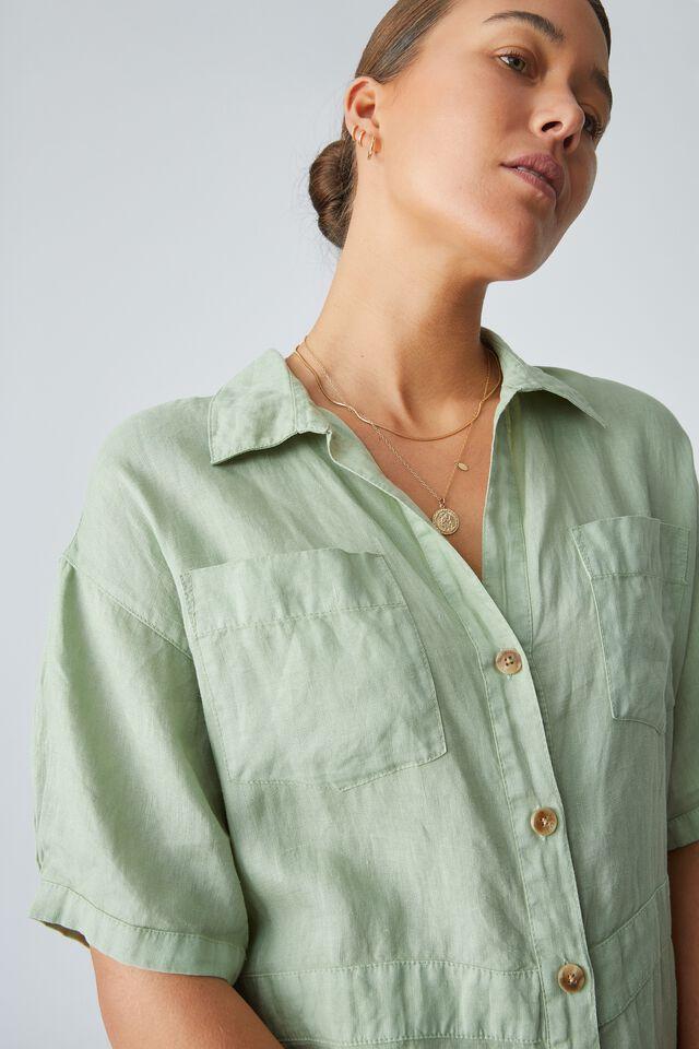 Linen Short Jumpsuit, FERN GREEN