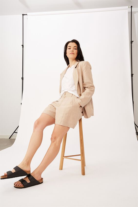 Emma Hawkins Linen Short, STONE