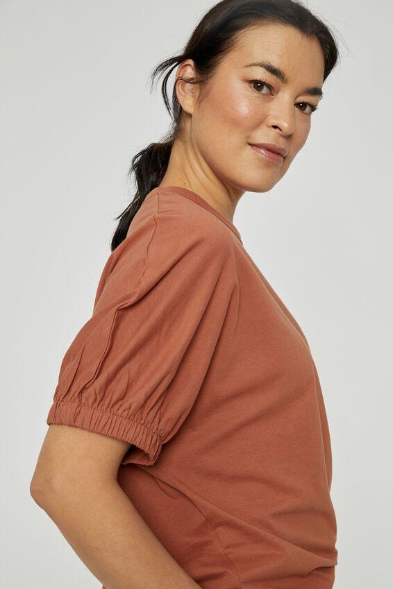 Organic Elastic Sleeve Split Hem Tee, RUST