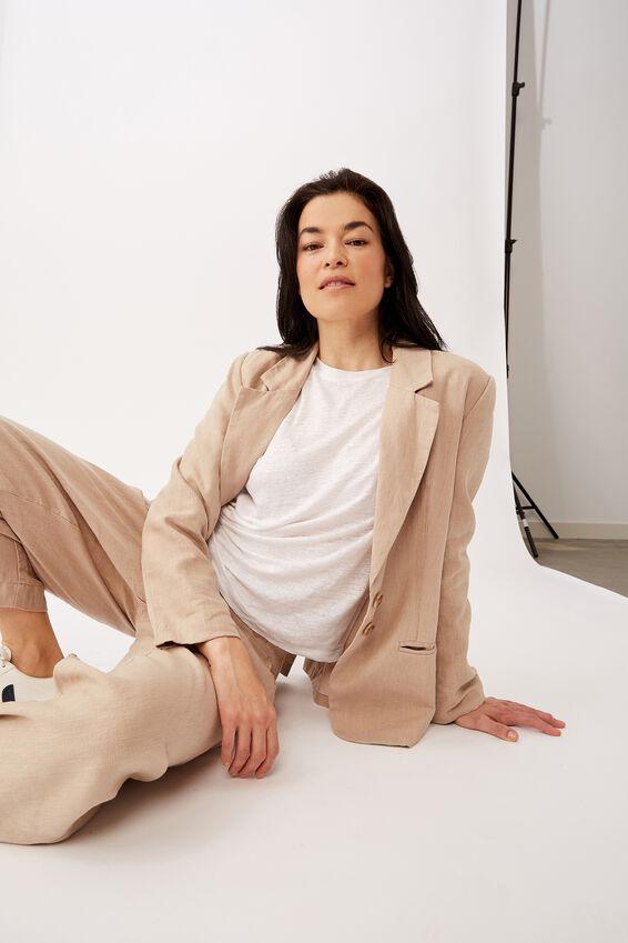 Emma Hawkins X Linen Blazer, STONE