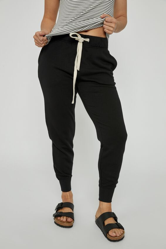 Organic Cotton Trackpant, BLACK