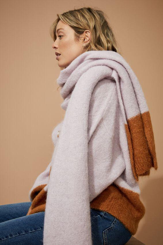 Alpaca Wool Blend Oversized Knit Scarf, MUSTARD PETAL BLOCK