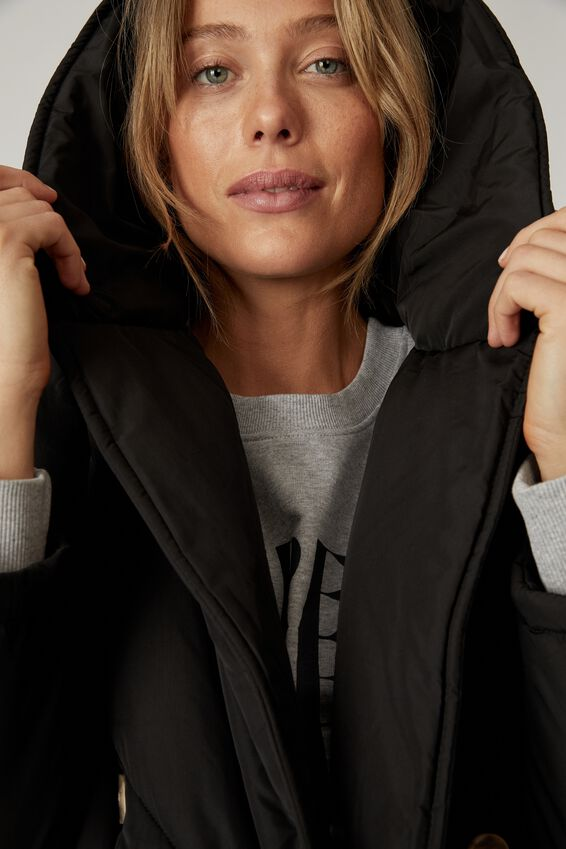Longline Cocoon Puffer Jacket, BLACK