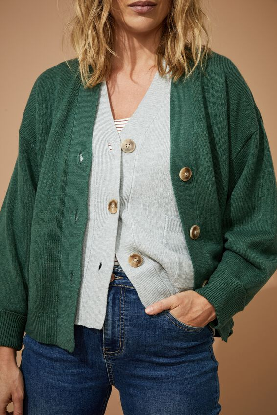 Soft Boxy Knit Cardigan, HUNTER GREEN