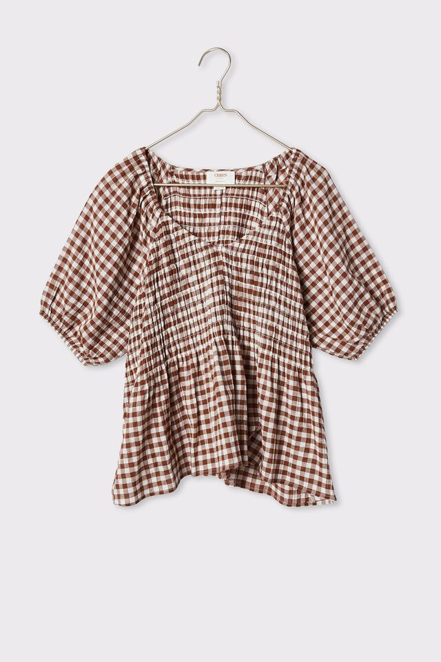 Shirred Smock Top In Organic Cotton Gingham, WHITE AND BISON GINGHAM CHECK