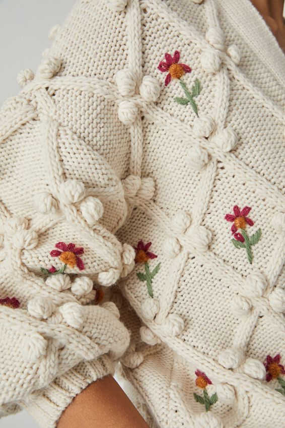 Cottage Bobble Cardigan, STONE COTTAGE FLORAL
