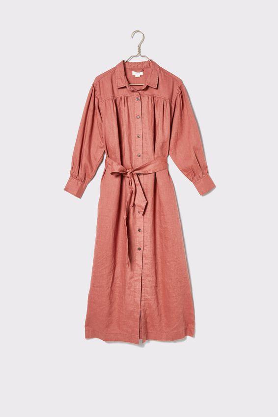 Linen Shirt Dress, RUST