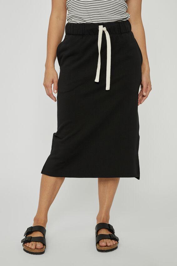 Organic Fleece Midi Tube Skirt, BLACK