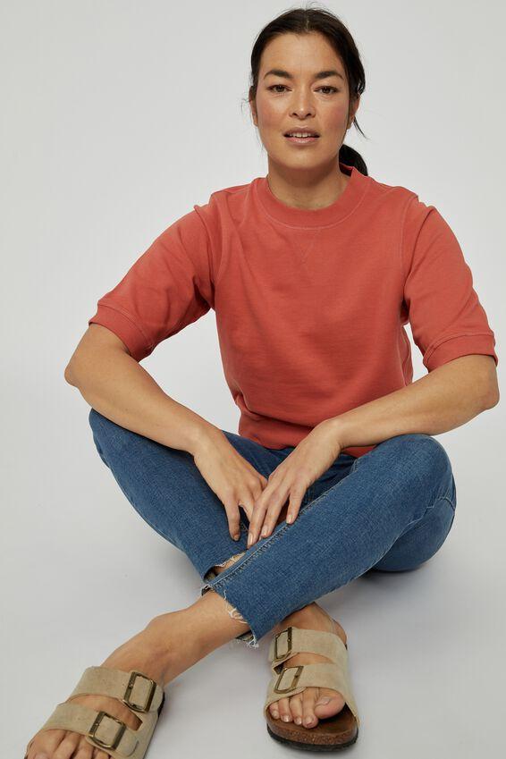 Organic Tussock Short Sleeve Sweat, ROSE CLAY