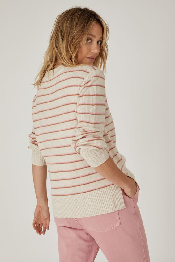 Soft Stripe Crew Sweater, OATMEAL PINK TAN STRIPE