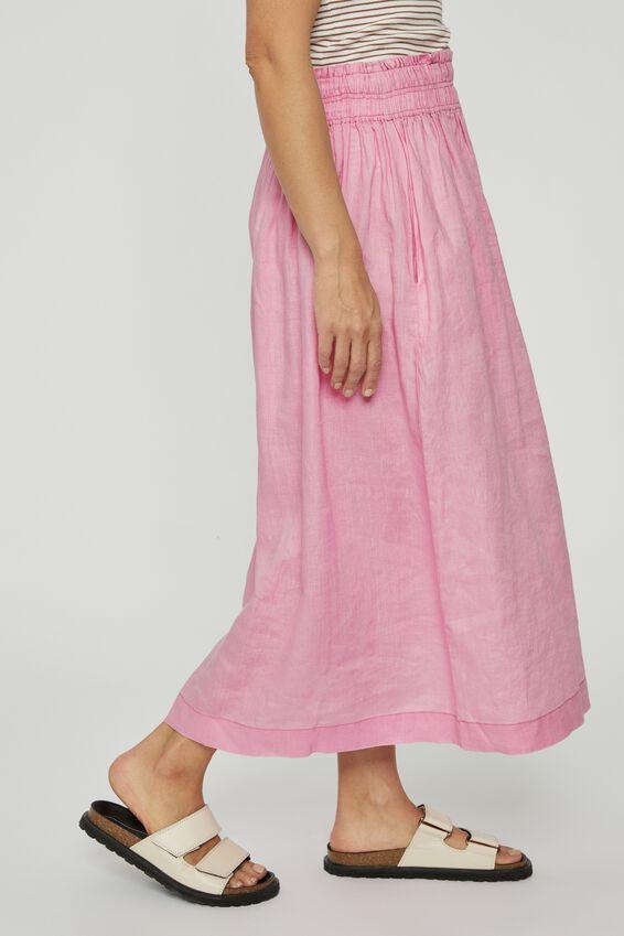 Linen Midi Skirt, FAIRY FLOSS PINK
