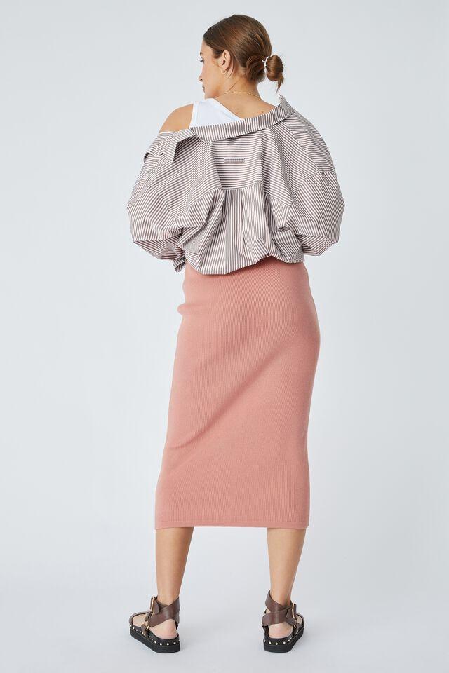 Organic Cotton Knit Skirt, SPICED PINK
