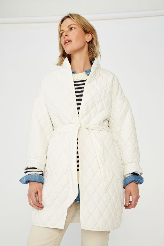 Quilted Longline Jacket, WINTER WHITE