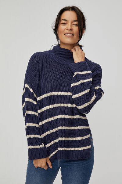 Australian Cotton Oversized High Neck Jumper, ECLIPSE PEBBLE STRIPE
