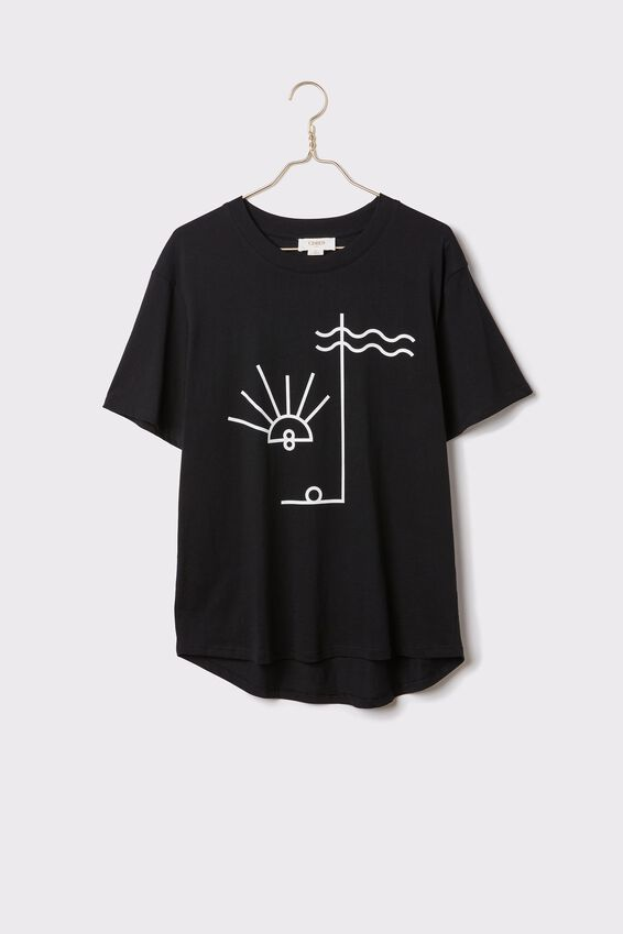 Organic Daily Print Tee, BLACK/ELEMENTS