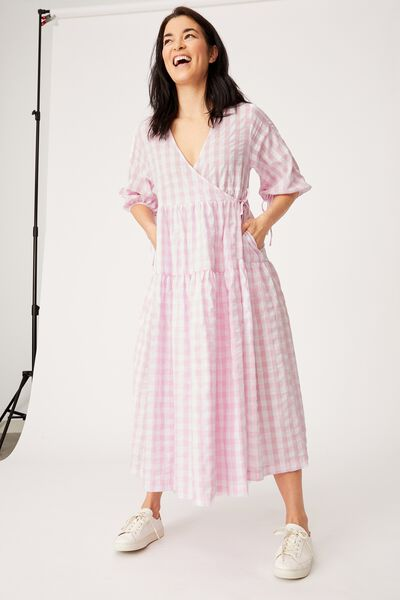 Gingham Picnic Dress, PINK & WHITE