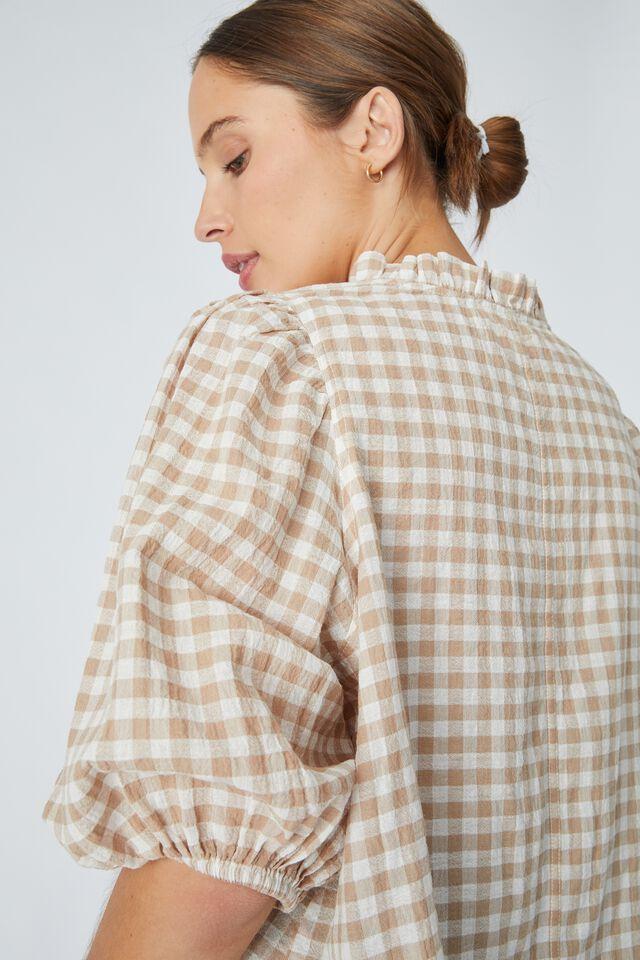 Ruffle Neck Tunic In Organic Cotton Gingham, SESAME WHITE CHECK