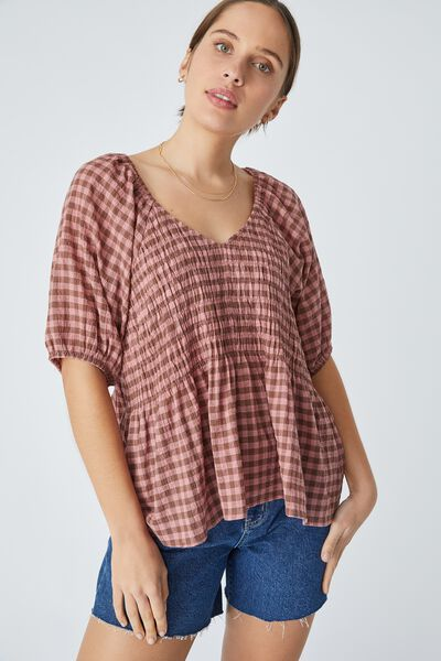 Shirred Smock Top In Organic Cotton Gingham, SPICED PINK CLOVE CHECK