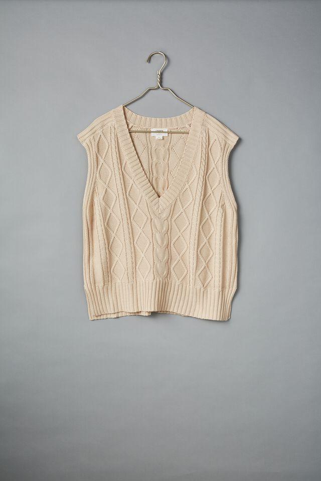 Organic Cotton Knit Vest, LIGHT CAMEL