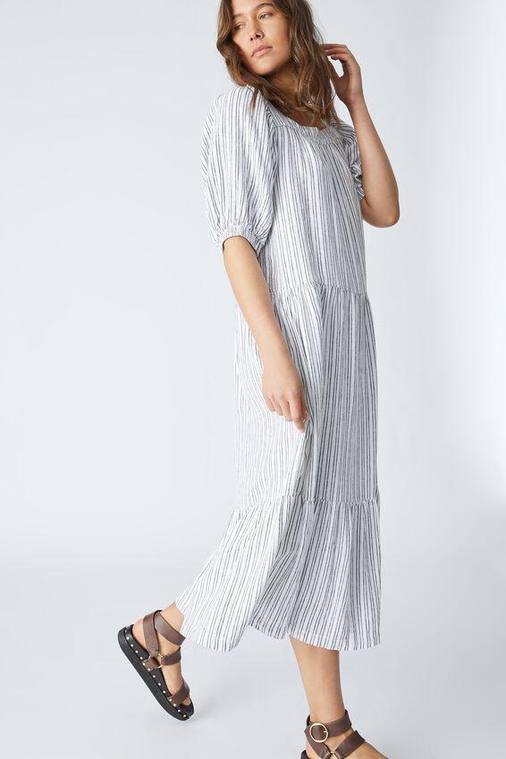 Puff Sleeve Square Neck Midi Dress, NAVY TICKING STRIPE