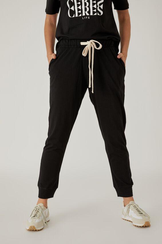 Organic Jersey Pant, BLACK