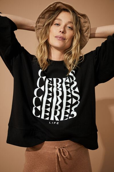Organic Sunday Sweat, BLACK/WHITE CERES
