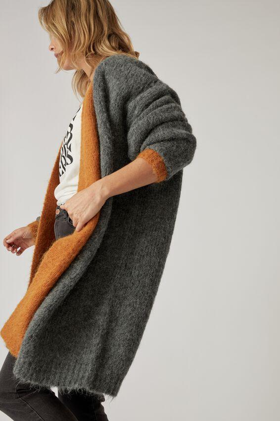 Alpaca Wool Blend Longline Cardi, GREY MARLE