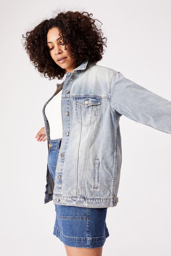 Oversized Rescued Fabric Denim Jacket, MID BLUE WASH