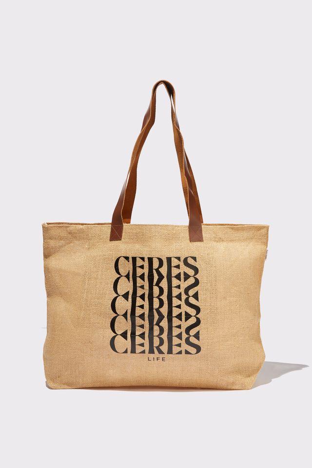 Thyli Nala Jute Tote Bag, NATURAL  BLACK