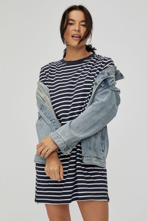 Organic Short Daily Tee Dress, NAVY/WHITE STRIPE