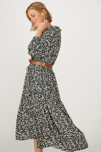 Tiered Shirt Dress, BLACK FLORAL