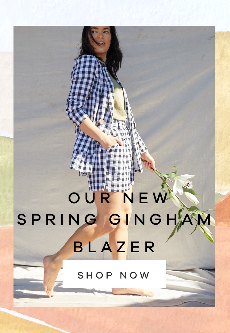 Our New Spring Gingham Blazer ….is here.