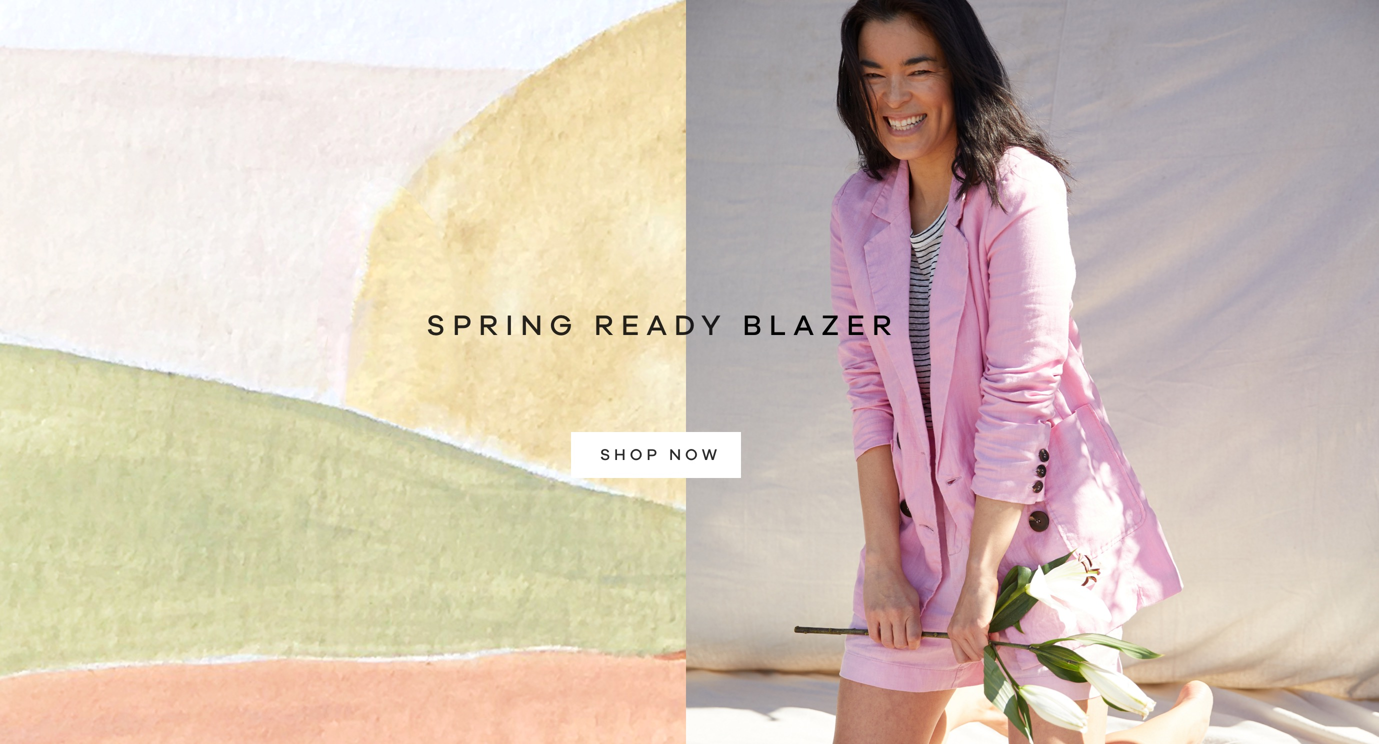 Spring Ready Blazer  Classic linen, lightweight, double-breasted and super soft feel.